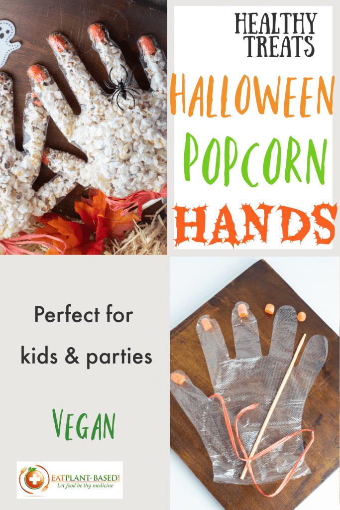 pinterest photo collage of healthy halloween popcorn hands