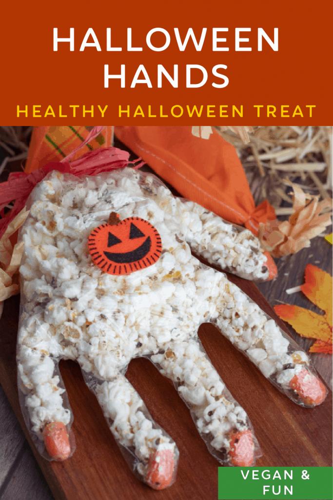 pinterest photo collage of healthy halloween treats