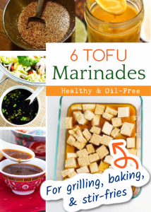 photo collage of 6 oil free tofu marinades