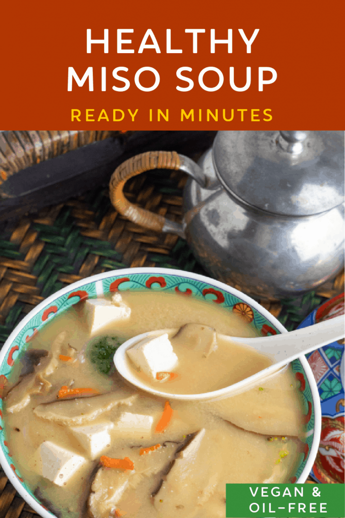 photo collage of vegan miso soup for pinterest