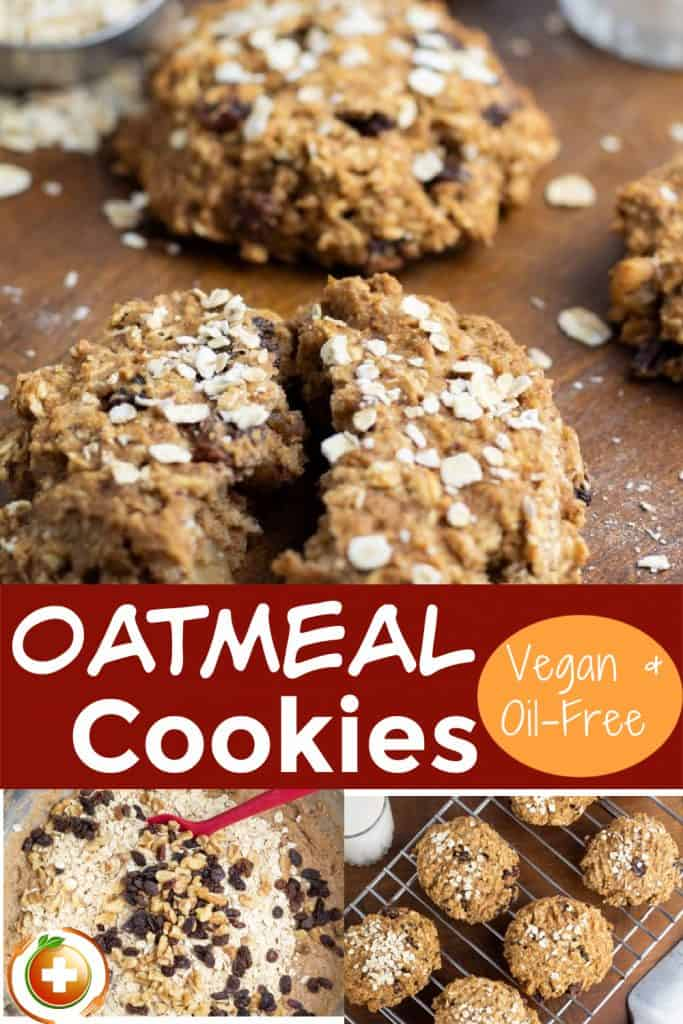 photo collage of oatmeal vegan cookies for pinterest