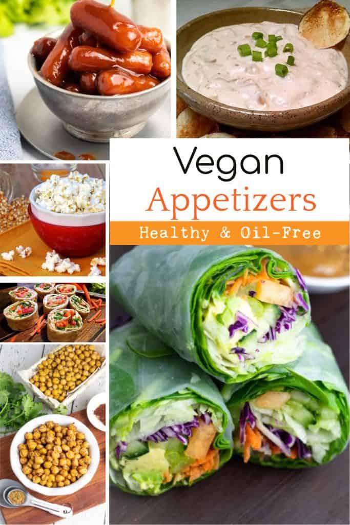 vegan appetizer collage for pinterest