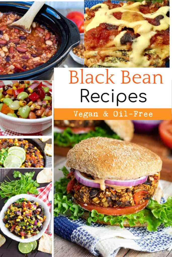 black bean recipe photo collage for pinterest