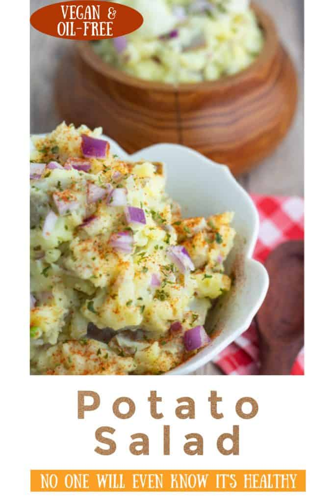 vegan potato salad photo collage for pinterest