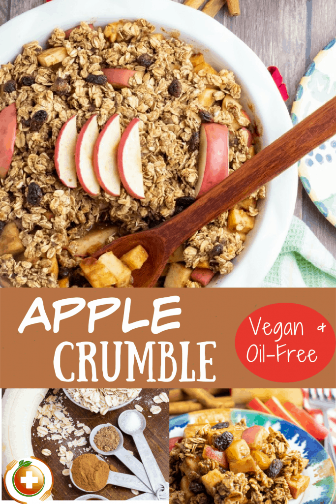 healthy apple crumble photo collage for pinterest