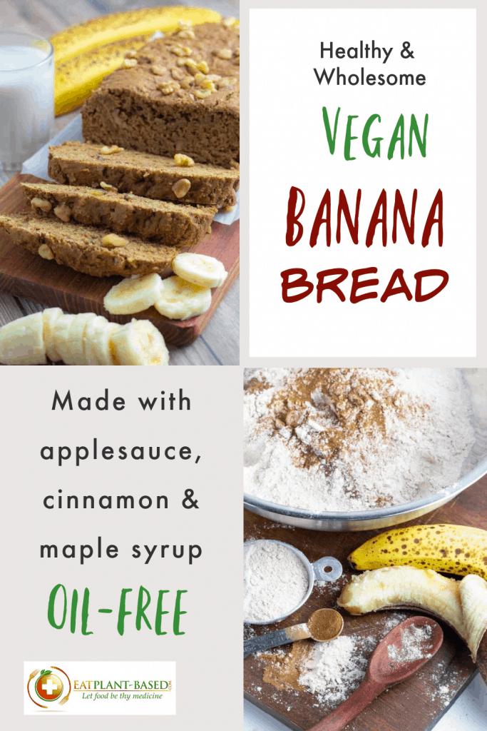 photo collage for vegan banana bread for pinterest
