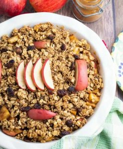 white round baking dish filled with apple crumble