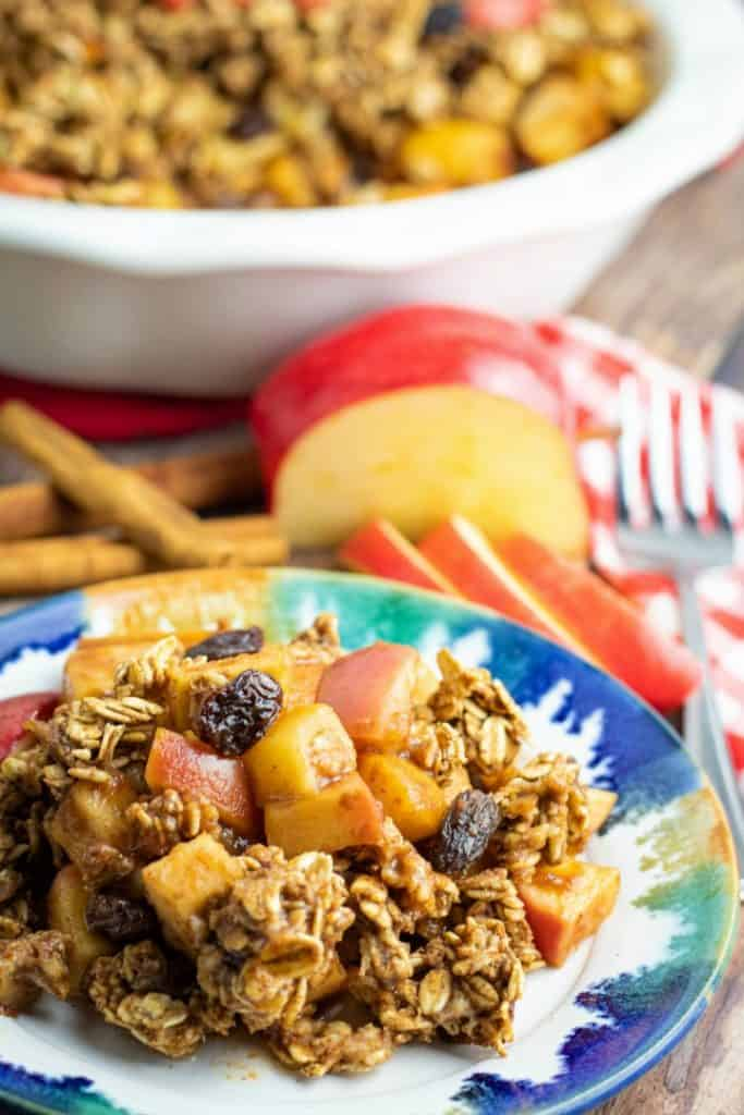 colorful plate with serving of apple crisp with oatmeal