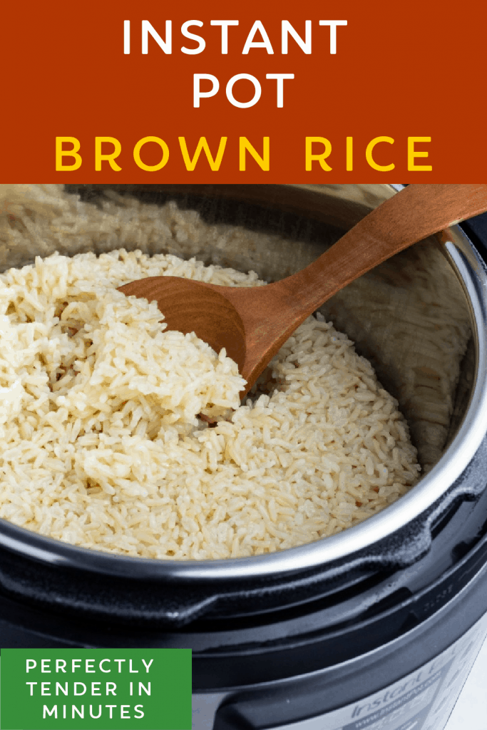 instant pot brown rice photo collage for pinterest
