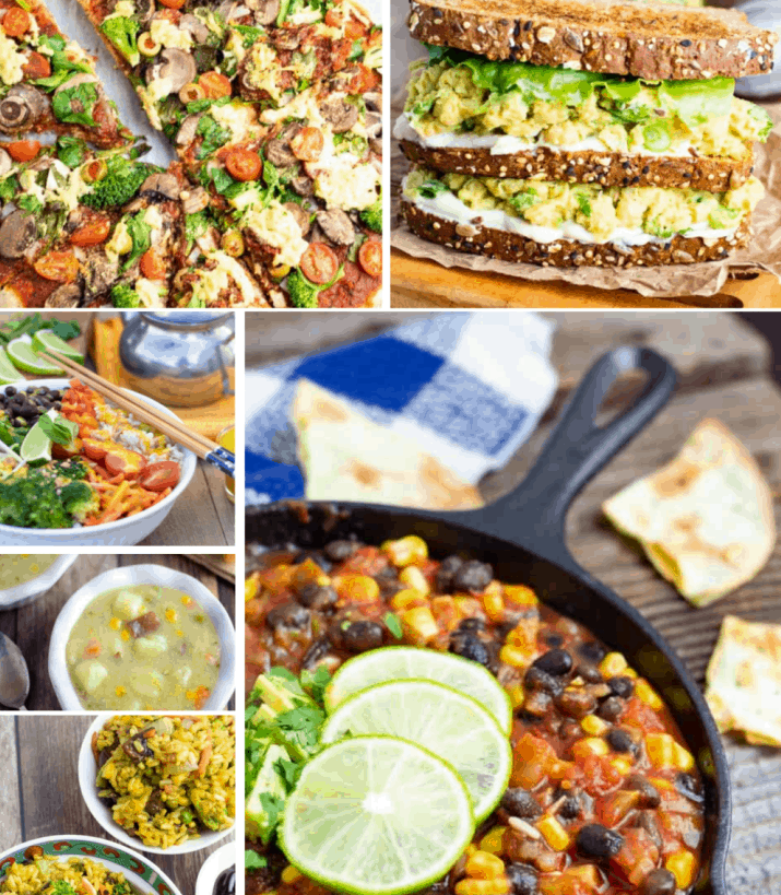 collage of quick vegan meal photos