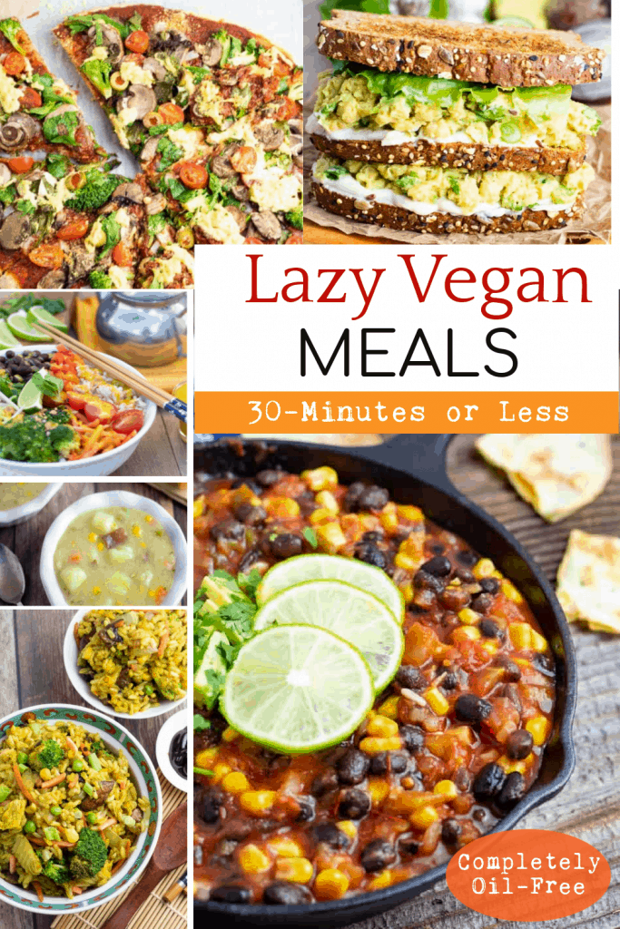 Lazy Vegan Quick Meals collage for pinterest
