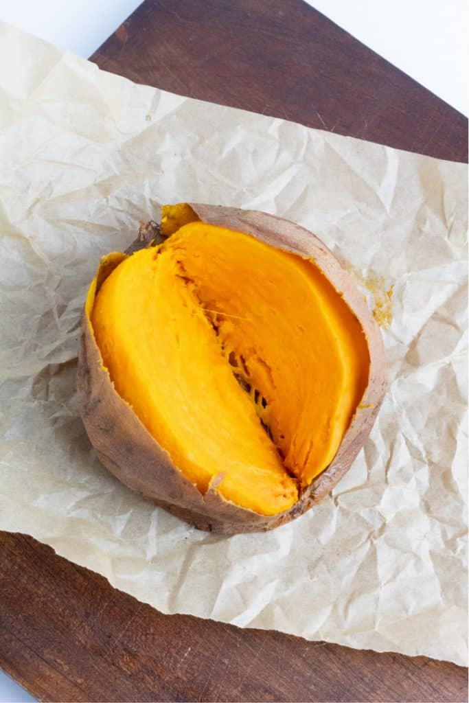 plain baked sweet potato sliced open