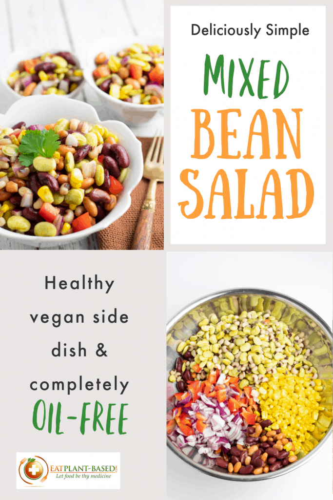 photo collage of bean salad for pinterest