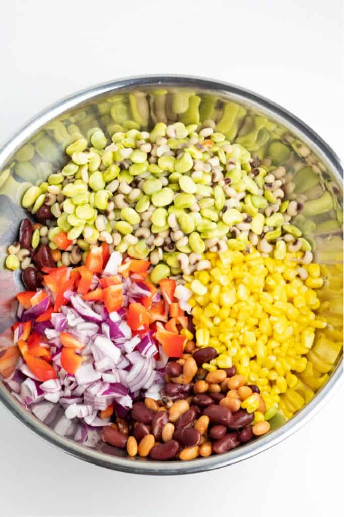 stainless bowl with beans and corn