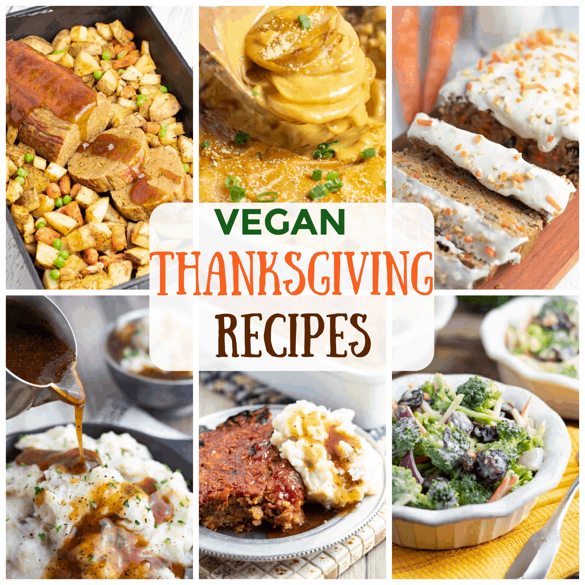 collage of vegan oil free thanksgiving recipes