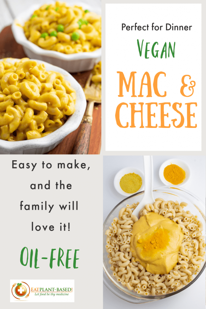 photo collage for vegan mac and cheese pinterest pin