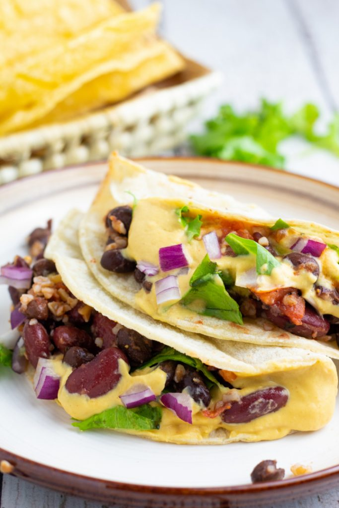 2 vegan tacos on plate