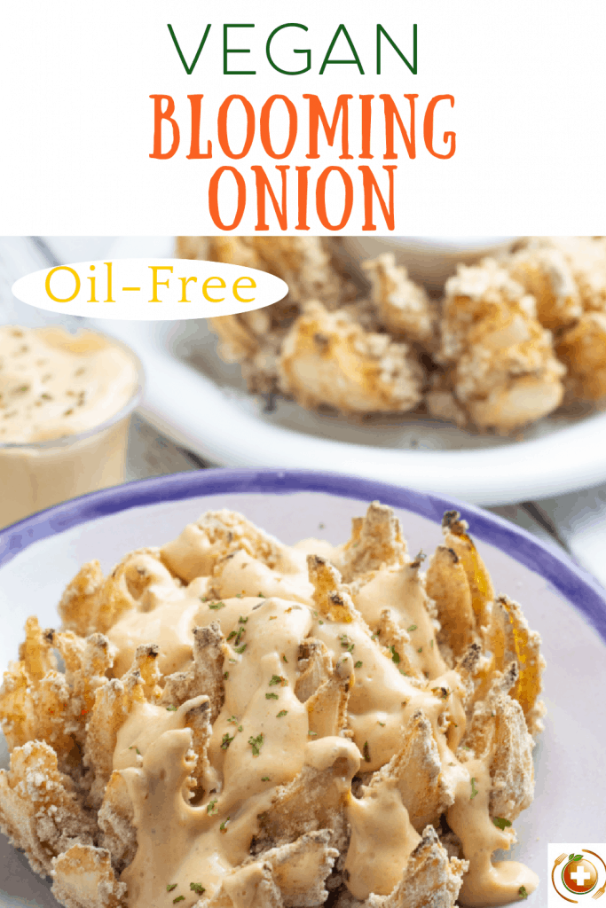 vegan blooming onion photo collage for pinterest