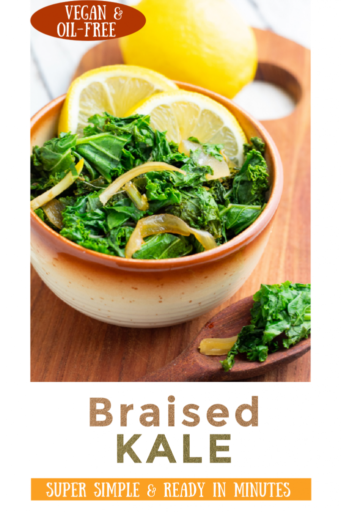 braised kale photo collage for pinterest