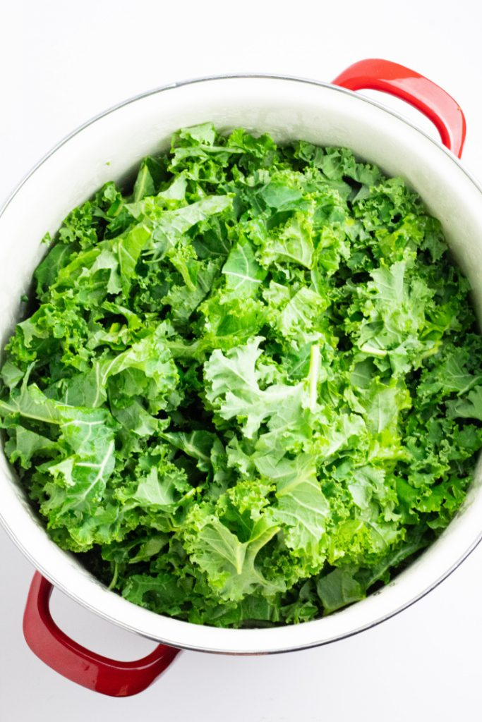 uncooked kale in stockpot