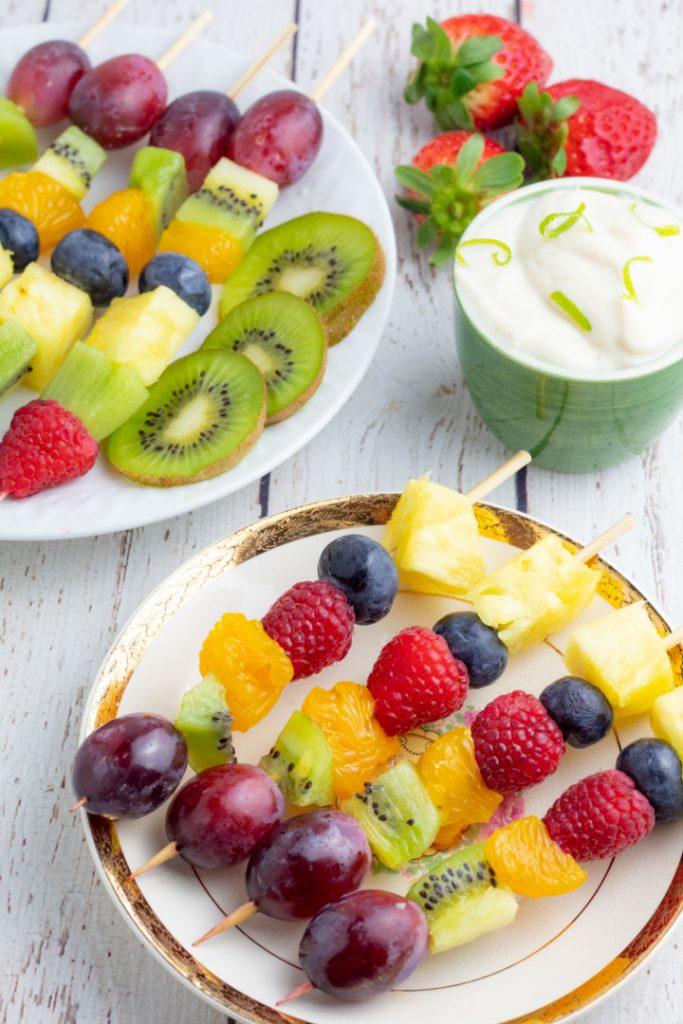 overhead shot of fruit on plates