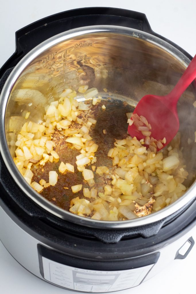 instant pot with sauteed onions