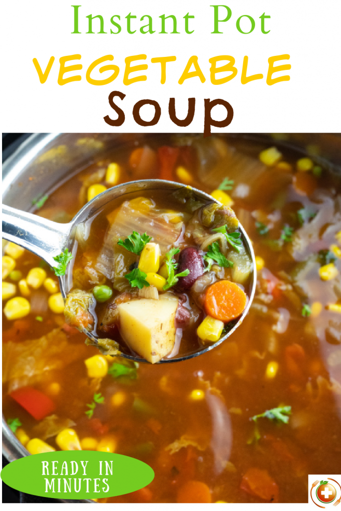 photo collage of instant pot vegetable soup for pinterest
