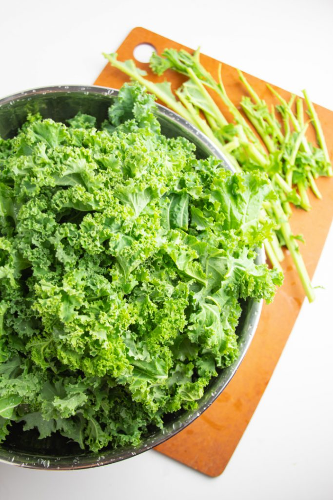 raw kale in stainless bowl with kale stem on side