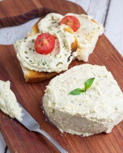 vegan ricotta cake and spread on toast