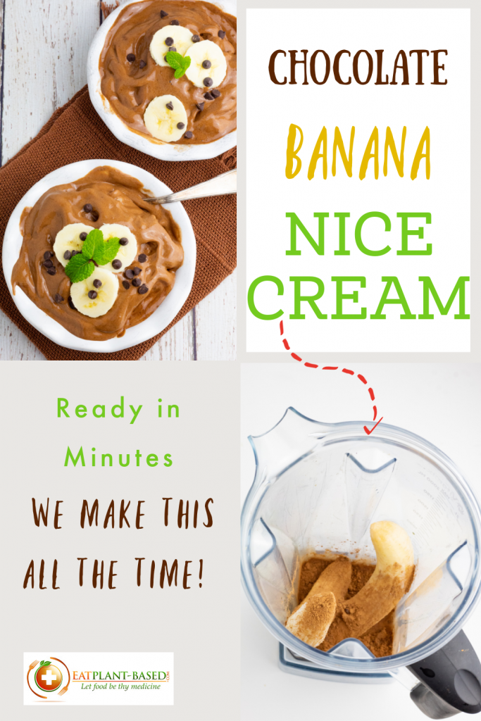 photo collage of chocolate banana nice cream for pinterest