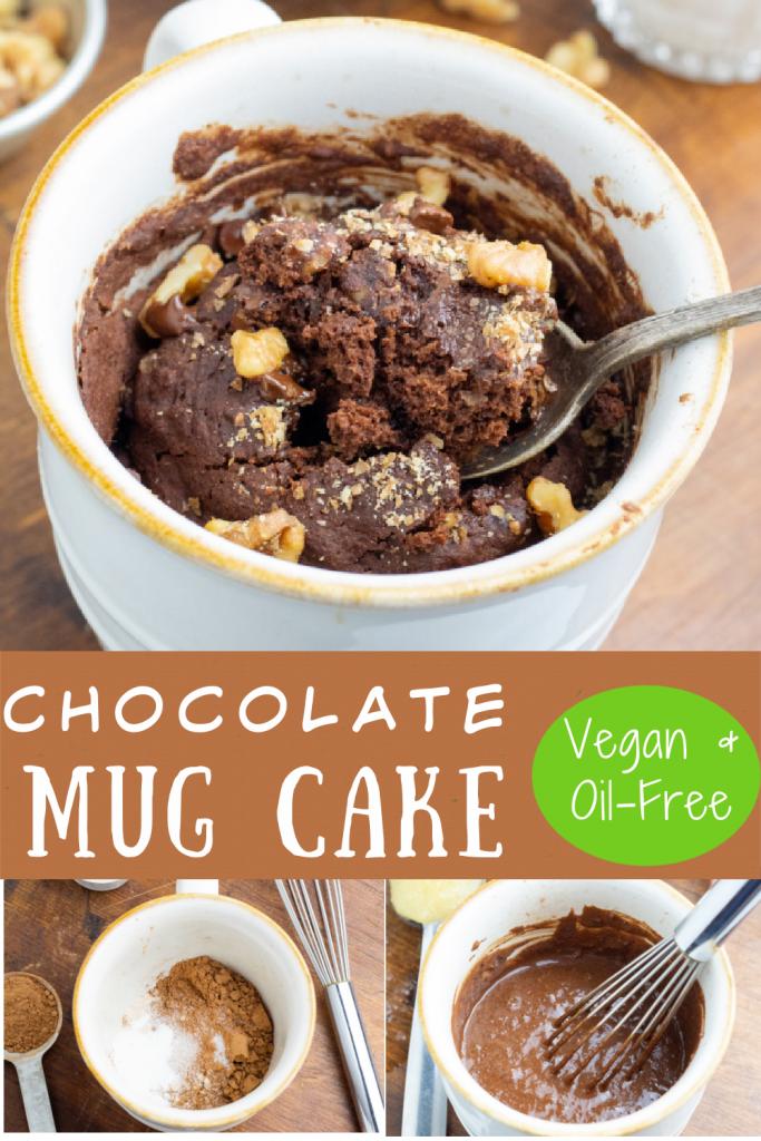 photo collage of vegan chocolate mug cake for pinterest