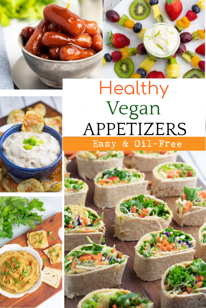 photo collage of healthy vegan appetizers