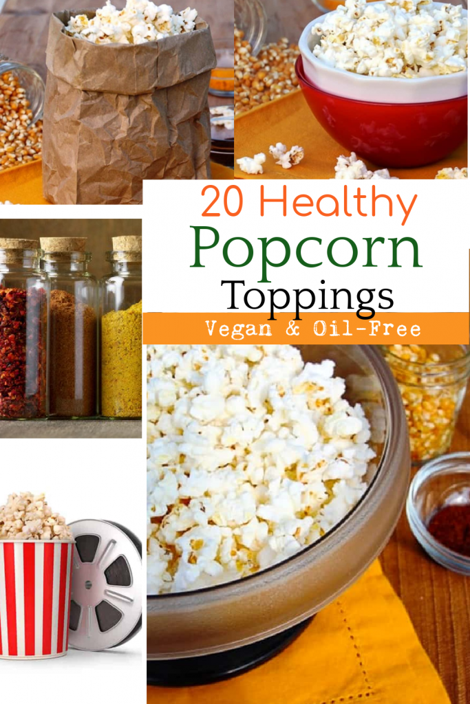 photo collage for healthy popcorn toppings