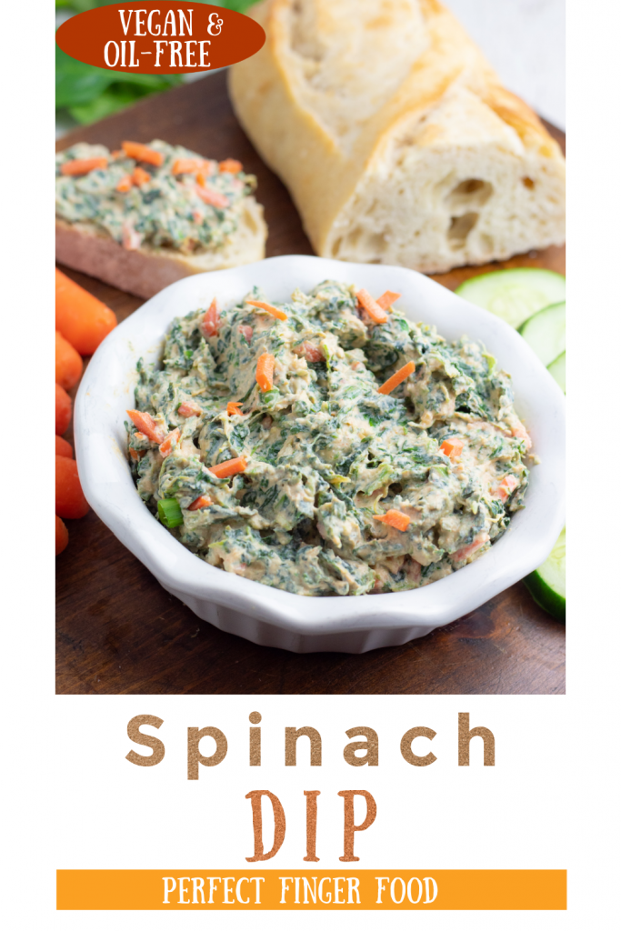 vegan spinach dip photo collage for pinterest