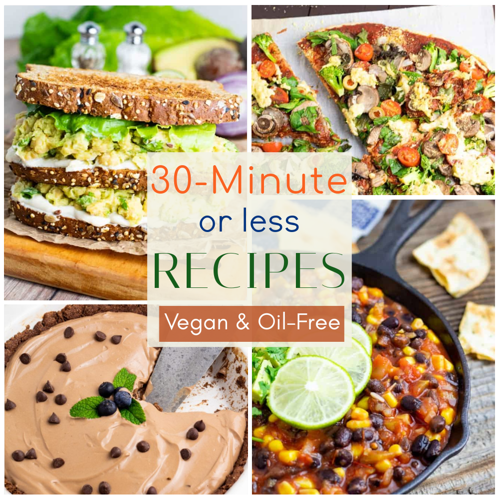 30 minute or less vegan recipes photo collage
