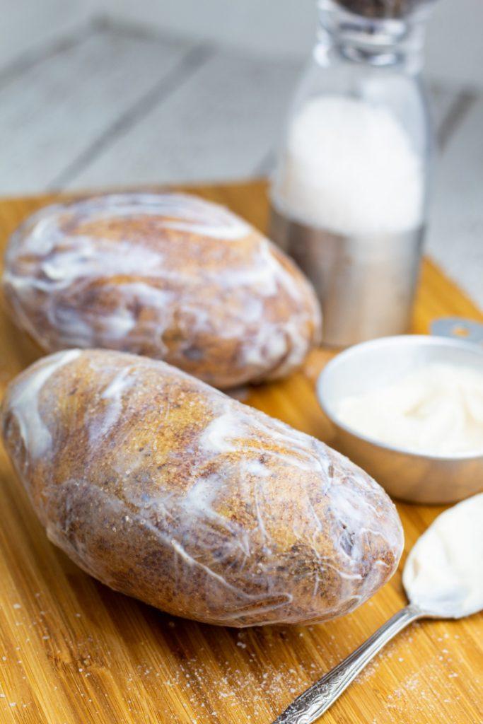 large russett potatoes coated with vegan mayo