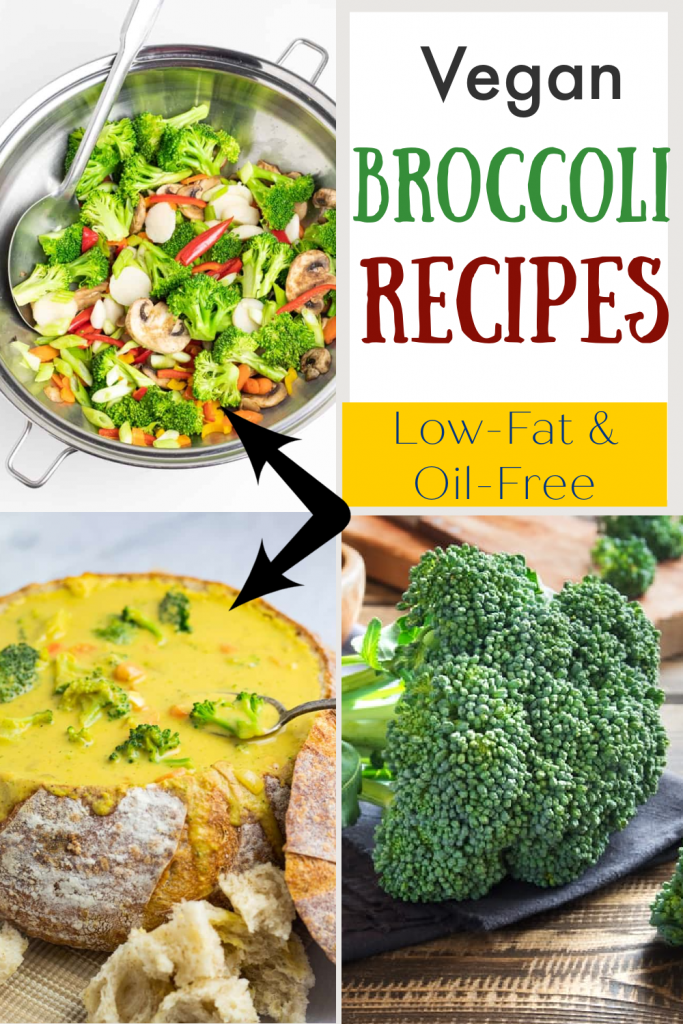 photo collage of vegan broccoli recipes for pinterest