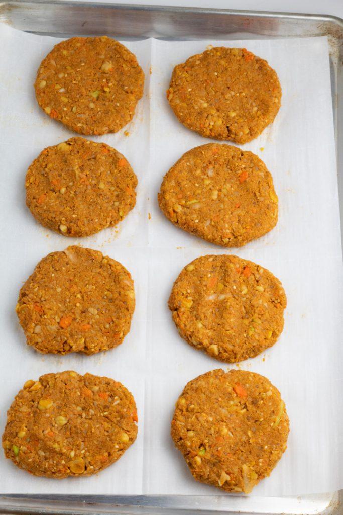 chickpea patties on baking sheet