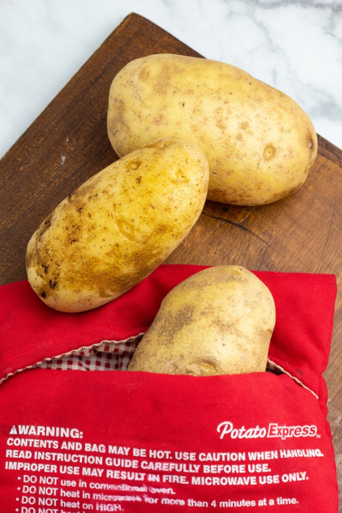 russett potatoes in microwavable sack