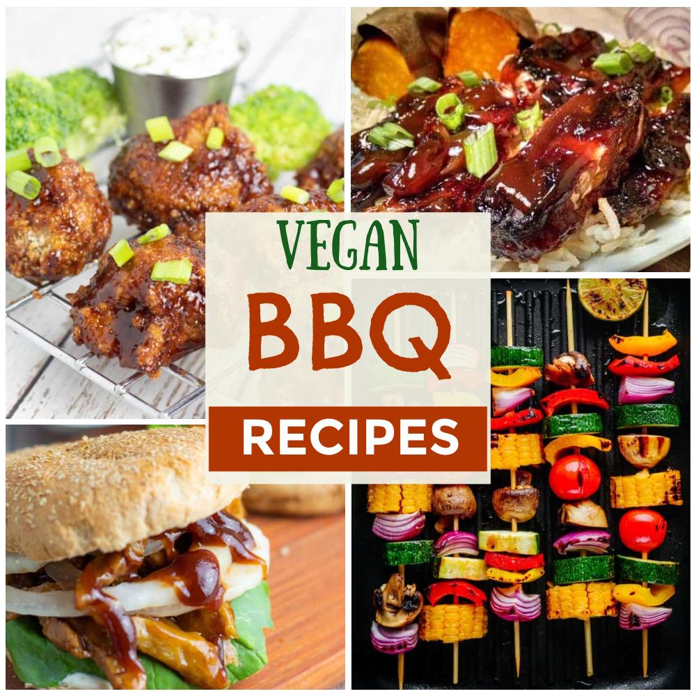 photo collage of vegan bbq recipes