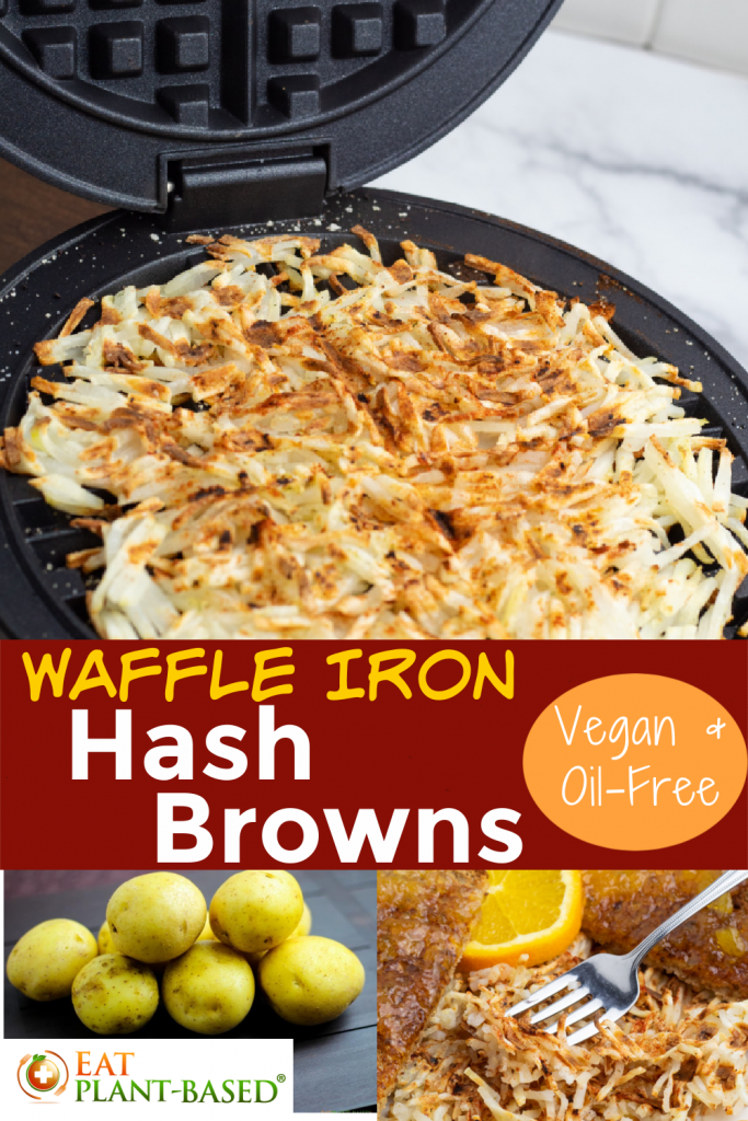 waffle iron hash browns photo collage for pinterest