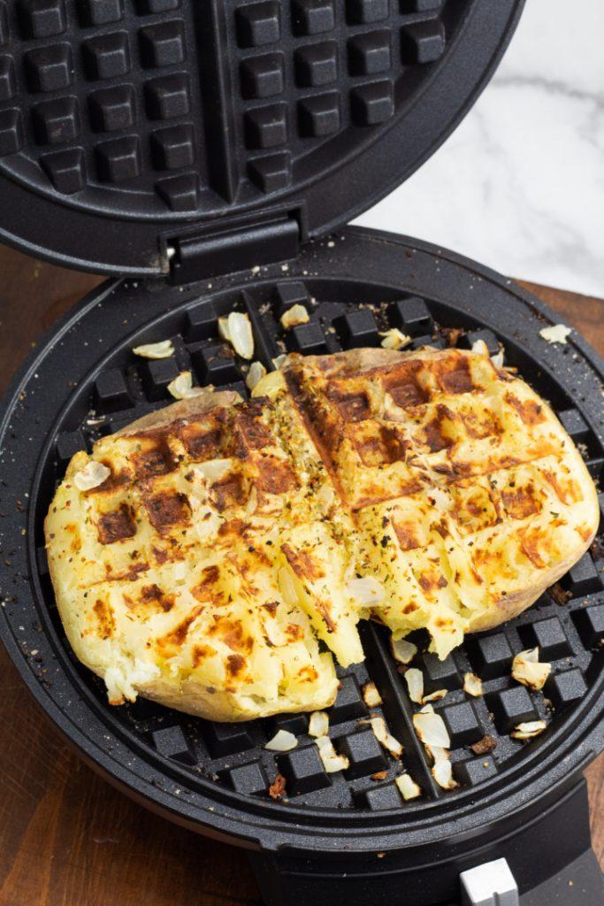 potato in waffle iron