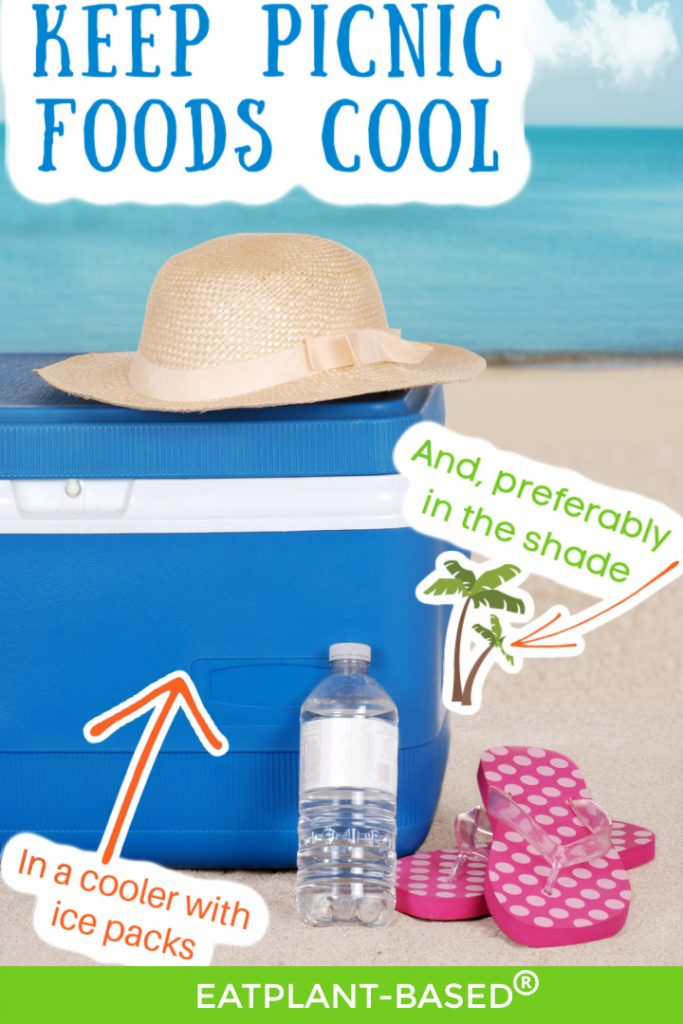 blue cooler at lake with sun hat on top and flip flops with water bottle beside