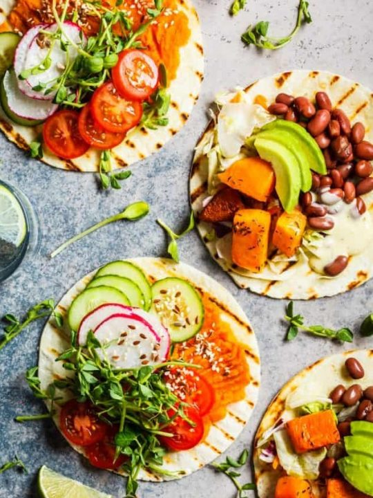 flour tortillas with beans and veggies