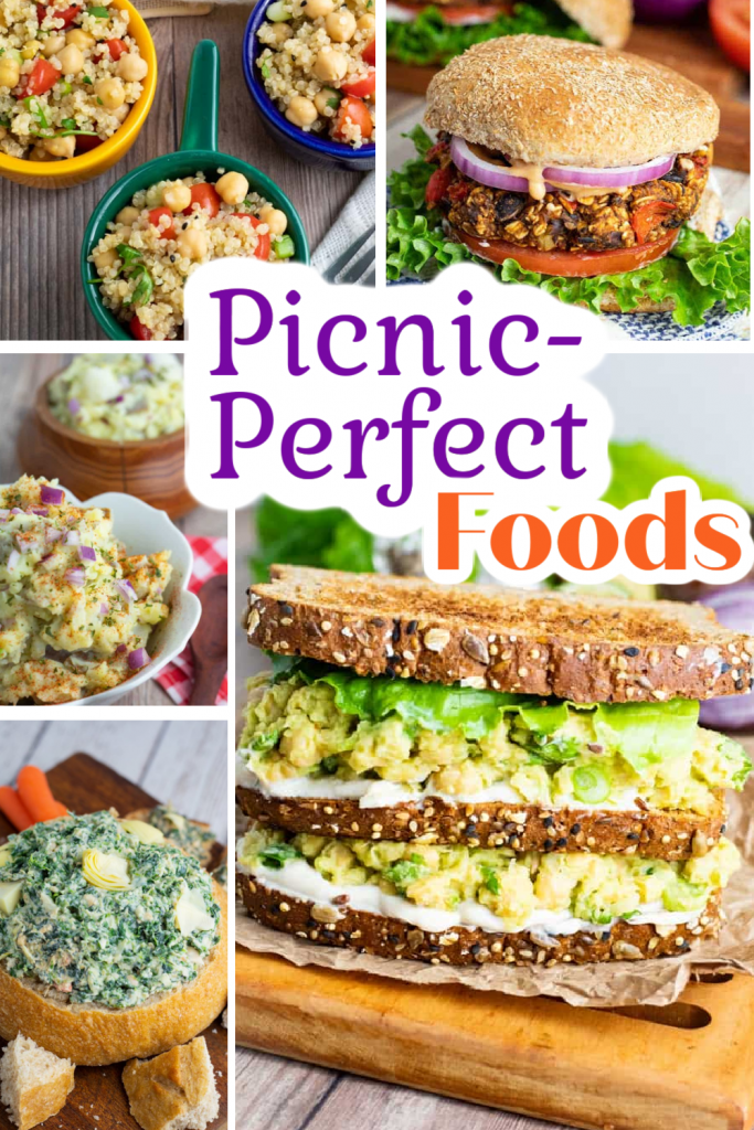 vegan picnic ideas photo collage for pinterest