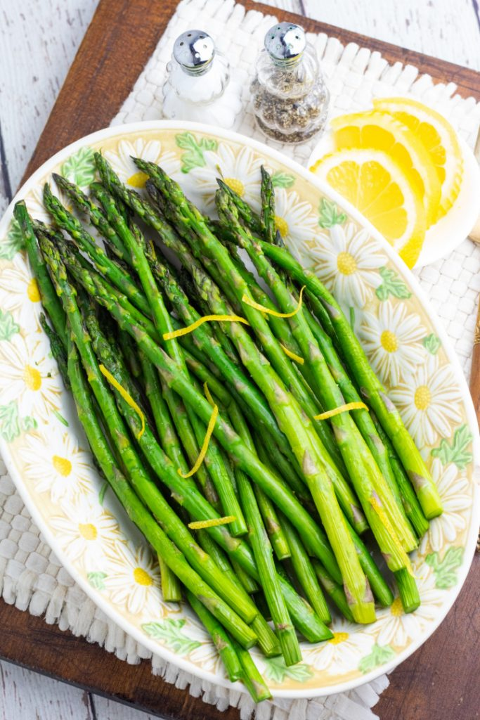 decorative platter with cooked asparagus