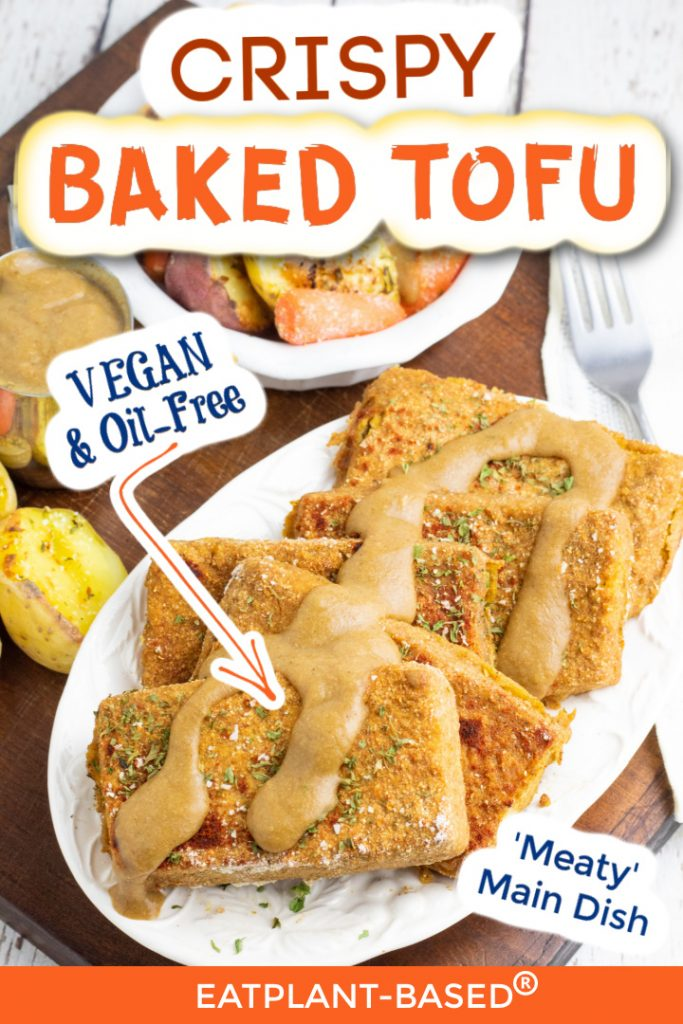 baked tofu photo collage for pinterest