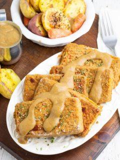 overhead photo of platter full of baked tofu
