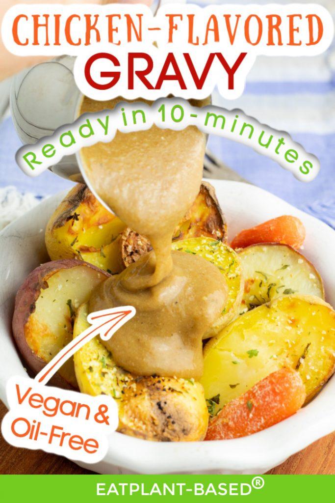 vegan gravy photo collage for pinterest