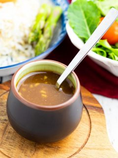 asian brown dish with miso sauce and spoon